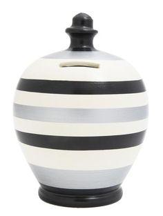 Stripe Money Pot Black White and Silver - D68