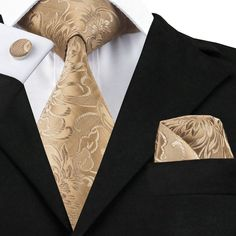 #AliExpress C-309 Golden Brown Mens Tie Set 2017 Jacquard Silk Ties Pocket Square Cufflinks Fashion Floral Ties for Men 8.5cm Corbatas (32345568435) #SuperDeals