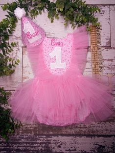 Pink romper, embroidery ruffle tulle bottom bodysuit smash de cake set: romper and embroidery Birthday party hat Birthday Party Hats, Hat Shop, Tulle, Bodysuit, Rompers, Embroidery, Pink, Handmade, Etsy