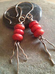 Red Coral Dangle Earrings Boho Earrings Red Stone by LadonnaStudio, $32.00