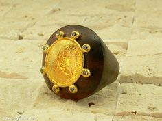 Wood ring with coin and diamonds