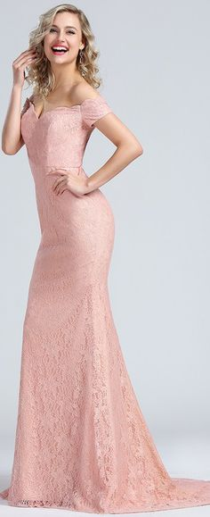 Off Shoulder Pink Lace Party Dress Bridesmaid Dress
