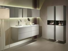 VITA STONE - Wall-mounted vanity. Floating box with thin profile frame