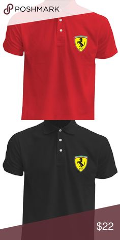 Men's Ferrari Supercar Logo Cotton Polo Men's Polo Cotton, Polyester Heat Pressed in the Front Best quality guaranteed, Company has over 20 years of experience Super-Fast Shipping + Returns Accept within 15 days after being delivered. Building Ideas, Team Building, Men's Polo, Heat Press, Supercar, 20 Years, Formula 1, Ferrari, Polo Ralph Lauren