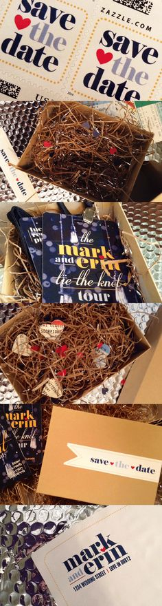 Rock 'n Roll Save the Dates!  Mark & Erin Tie the Knot Tour!  VIP Backstage Passes with heart shaped cutouts of the groom's rock concert tickets.  Packaged in brown kraft boxes and shipped in silver bubble mailers. #wedding #savethedate #rocknroll