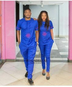 Finely sewn with detailed Embriodery woerks for one or both. Couples African Outfits, African Wear Dresses, Latest African Fashion Dresses, Couple Outfits, African Print Fashion, African Attire, Baby African Clothes, African Clothing For Men, African Shirts