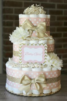 3 Tier Blush Pink and Champagne Gold Diaper Cake, Baby Girl, Elegant Pink and Gold Baby Girl Shower, Centerpiece, Decor, Blush Gold by BabeeCakesBoutique on Etsy https://www.etsy.com/listing/218490162/3-tier-blush-pink-and-champagne-gold