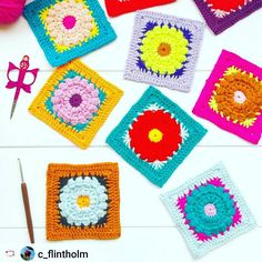 Wow wow wow!  Look at all these beautifully bright and vibrant #daisydukesgrannysquare colourways from the gorgeous and super talented Charlotte @c_flintholm  What a great first post to see on coming back to Insta after a long day away  I can't wait to see what else you've all been making today lovelies!!  It looks like I have a lot to catch up on!!  I hope you've had an awesome day?            Free Daisy Dukes Granny Square pattern and SFMGS x @make.e CAL Stabby Granny Square pattern on the…