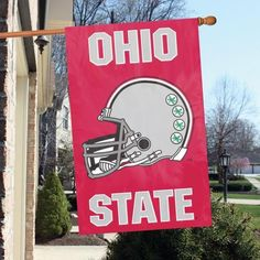 "OHIO STATE BUCKEYES ""HELMET""APPLIQUE BANNER FLAGS"