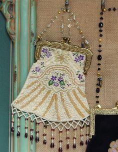 1920s Style Purses, Flapper Bags, Handbags Ivory Beaded Purse $39.95 AT vintagedancer.com