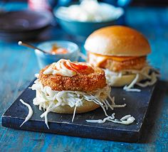 A twist on the beloved fish finger sandwich with tasty, breadcrumbed prawn patty, chilli mayo and coleslaw - a marriage made in heaven
