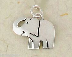 Far Fetched Elephant CHARM or PENDANT  w/ Jump Ring Sterling Silver - Free Ship
