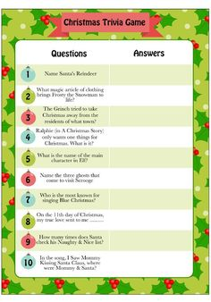 This free printable Christmas trivia is perfect for both adults and kids. … This free printable Christmas trivia. Christmas Party Games For Adults, Christmas Trivia Games, Adult Christmas Party, Christmas Games For Family, Xmas Games, Printable Christmas Games, Holiday Party Games, Adult Party Games, Trivia Games For Adults