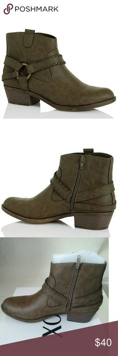 New! XOXO Western Ankle Booties Boots New With Box XOXO brings a western touch to your look in these ankle booties featuring strapping and hardware details combined with classic styling.  Color: Taupe   Almond closed-toe western booties Inside zipper Straps and buckle details 1-1/2 inch heel Shaft: 5 inches Circumference: 10 inches Manmade upper, Manmade sole Textile lining XOXO Shoes Ankle Boots & Booties
