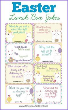 Printable Easter Lunch Box Notes Using Easter Jokes for Kids - Coupons Are Great - Jokes for kids - Lunch Easter Snacks, Easter Lunch, Hoppy Easter, Easter Party, Easter Bunny Jokes, Funny Easter Jokes, Easter Gift, Funny Kids, Easter Eggs