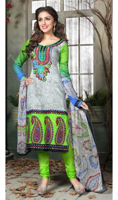 Takki work plum-s neon green grey color cotton print patiala salwar suits material