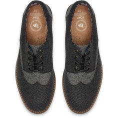Movember Herringbone Mix Men's Brogues ($98) ❤ liked on Polyvore featuring mens, men's shoes and men's oxfords