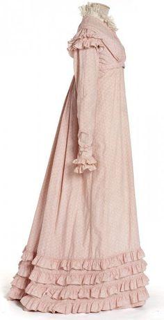 Printed cotton muslin dress, French, circa 1818-1820.