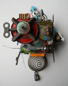 Recycled Art Assemblage - Franken Bot - Original Mixed Media via Etsy