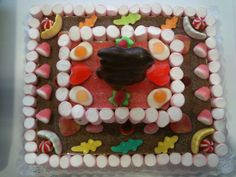 Tarta con nubes + gominolas + lenguas pica + conejo de chocolate¡¡