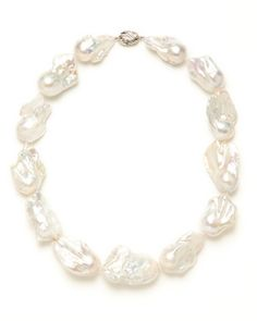 Tara Pearls Large White Freshwater Baroque Pearl Strand Necklace
