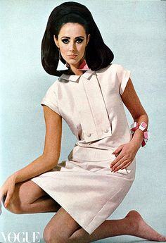 Australian top model Maggi Eckardt in a silk shantung dress by Nina Ricci, photo by Patrick Mead, Vogue Australia, Sept. 1966 | by skorver1