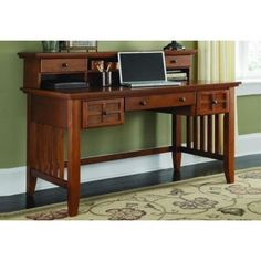 Home Styles Furniture Arts & Crafts Executive Desk & Hutch in Cottage Oak, Mission Wood Oak Computer Desk, Desk With Keyboard Tray, Oak Desk, Computer Tables, Computer Laptop, Style At Home, Home Office Desks, Home Office Furniture, Furniture Decor