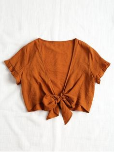 Shop for Plunging Neck Crop Tied Hem Blouse BROWN: Blouses M at ZAFUL. Only $17.49 and free shipping!