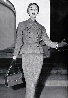 Tweed suit by Givenchy, handbag by Hermes, Paris, 1953