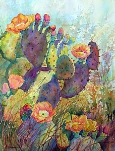 Watercolor painting--Texas prickly pear with spring blooms. Bright multi-hued painting on 22 x 30 Arches watercolor paper. CACTUS SPLENDOR by Mary Shepard. www.maryshepard.com