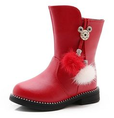 VECJUNIA Girls Fashion Winter Ankle Boots with Tassels Warm Outdoor Shoes