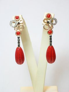 natural coral earrings...diamonds black and white.. gold 9kt...@FiordacquaJewels on Etsy