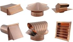 Copper bathroom exhaust roof vents and chimney caps and vents of all sizes. Gable Vents, Roof Vents, Roof Cap, Kitchen Chimney, Stove Vent, Kitchen Fan, Sheet Metal Work, Air Vent Covers, Copper Gutters