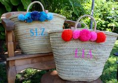 monogrammed bag with pompoms  pompom straw bag by TheAtelierUnique