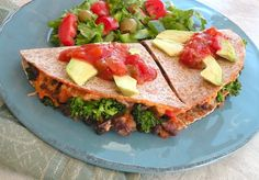 Vegan quesadillas with black bean, broccoli, and porobella (yum yum yum! I'll use the buckwheat tortillas)