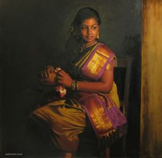 25 Beautiful Rural Indian Women Paintings by Tamilnadu artist ilayaraja