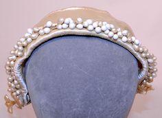 1930s White Satin Bridal Wedding Cap Orange Blossom Wax Flower Headpiece | eBay (front view)