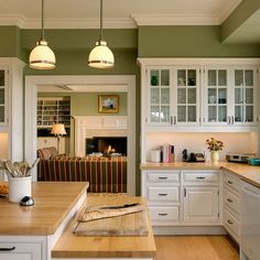 White Kitchen Cabinets with Green Paint