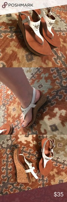 White Lucky wedges White wedges, lucky brand, leather top, studded and cut out design, super cute! Perfect for summer, sorority white, worn twice Lucky Brand Shoes Wedges