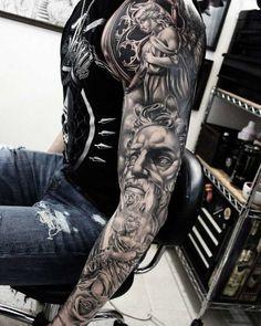 More Than 60 Best Tattoo Designs For Men in Minimalist Tattoos Are Trending In 2018 Steel Ink Studio. More Than 60 Best Tattoo Designs For Men In Temporary Tattoo Designs, Best Tattoo Designs, Tattoo Sleeve Designs, Angel Tattoo Designs, Temporary Tattoo Sleeves, Zeus Tattoo, Tiger Tattoo, Poseidon Tattoo, Gott Tattoos