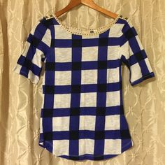 Anthropologie 9-hi-stcl blue/white plaid top You're looking at a new with tags shirt from Anthropologie in size small. 9-h15-stcl brand. Blue and white chunky plaid. Light weight fabric. Cute little polka dot collar and buttons on shoulder. Perfect condition. offers bundles for discounts PayPal. trades Anthropologie Tops Tees - Short Sleeve