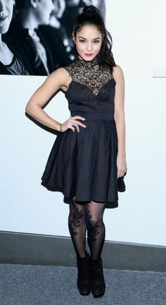 Vanessa Hudgens in all black but with loads of style.
