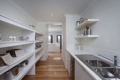 Scullery at The Grand Retreat - available only at Home Group WA. To end up in your perfect home, the best place to start is with us. Scullery Ideas, L Shaped Kitchen, Pantry Storage, Display Homes, Laundry Room Design, House Extensions, Home Reno, Kitchen Pantry, Building A House