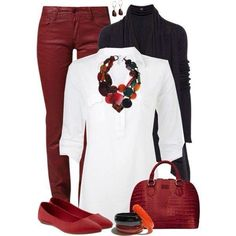 Red pants, white and black shirts