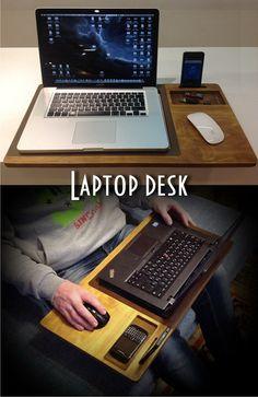 Laptop desk Portable desk laptop table Macbook by artWoodworking Laptop Table, Laptop Stand, Wooden Art, Wooden Crafts, Portable Desk, Cnc Wood, Lap Desk, Ideias Diy, Desk Organization