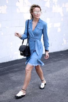 Mary Seng of Happily Grey strolls through the streets of Nashville in the Aya Denim Wrap Dress http://on.dvf.com/1VB6KBk