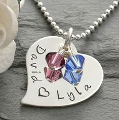 Personalized Heart Necklace - Hand Stamped - Sterling Silver. $43.00, via Etsy.