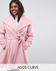 e483d8760c7 Shop ASOS DESIGN Curve waterfall collar coat with tie belt at ASOS.  Discover fashion online