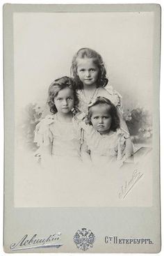 Grand Duchesses Olga, Tatiana, and Marie, the three eldest daughters of Czar Nicholas II and Empress Alexandra.