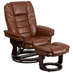 Flash Furniture Contemporary Brown Vintage Leather Recliner and Ottoman with Swiveling Mahogany Wood Base ** More info could be found at the image url.Note:It is affiliate link to Amazon.